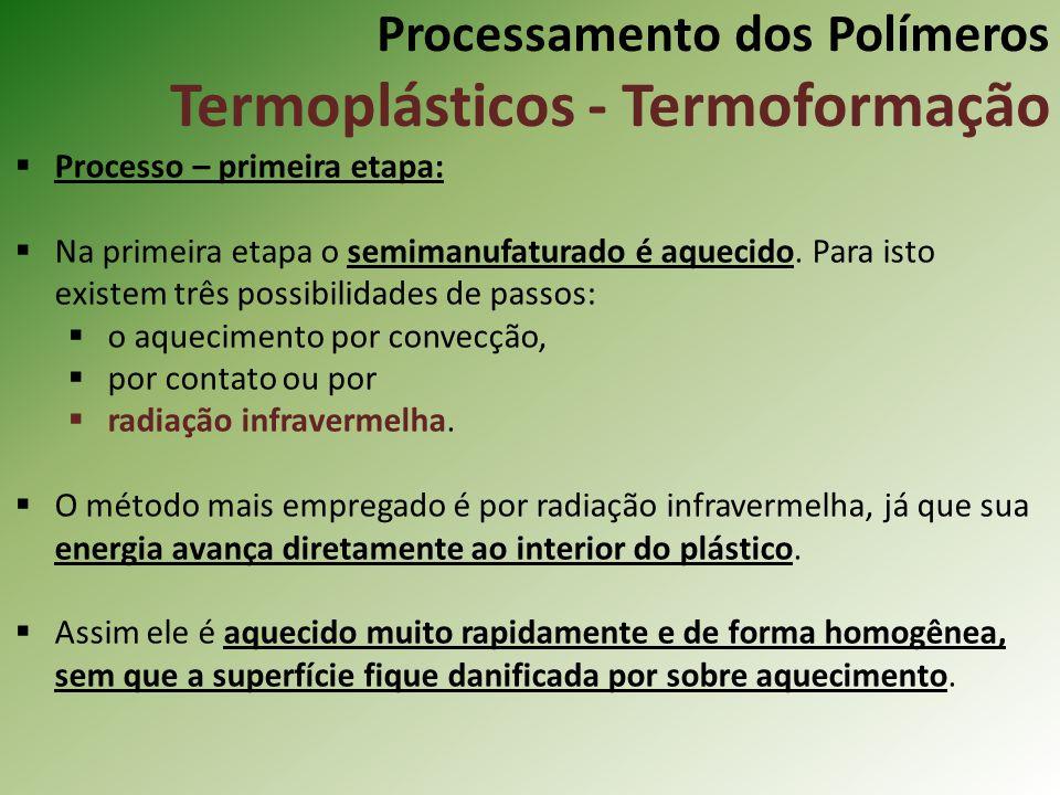 Processamento dos Polímeros Termoplásticos - Termoformação Processo – primeira etapa: Na primeira etapa o semimanufaturado é aquecido. Para isto exist