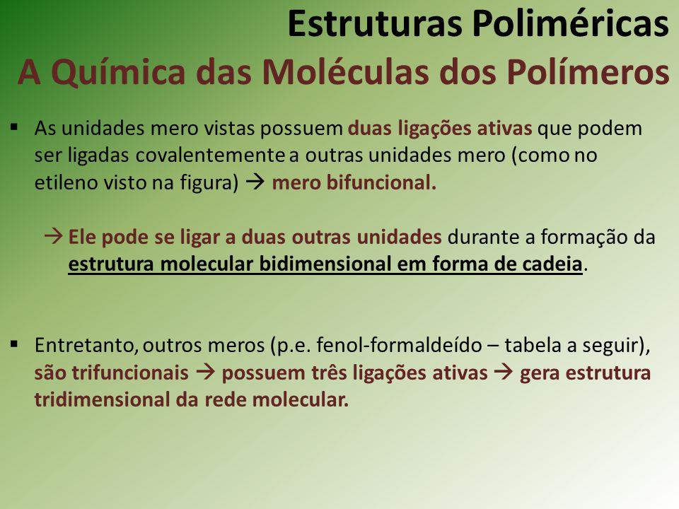 Estruturas Poliméricas A Química das Moléculas dos Polímeros As unidades mero vistas possuem duas ligações ativas que podem ser ligadas covalentemente