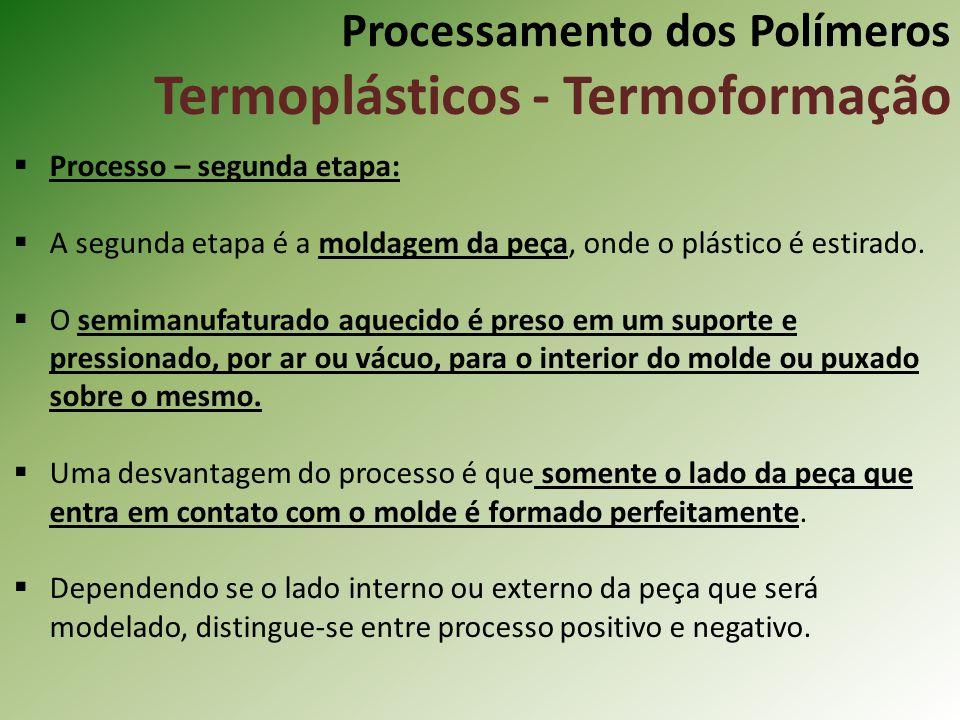 Processamento dos Polímeros Termoplásticos - Termoformação Processo – segunda etapa: A segunda etapa é a moldagem da peça, onde o plástico é estirado.
