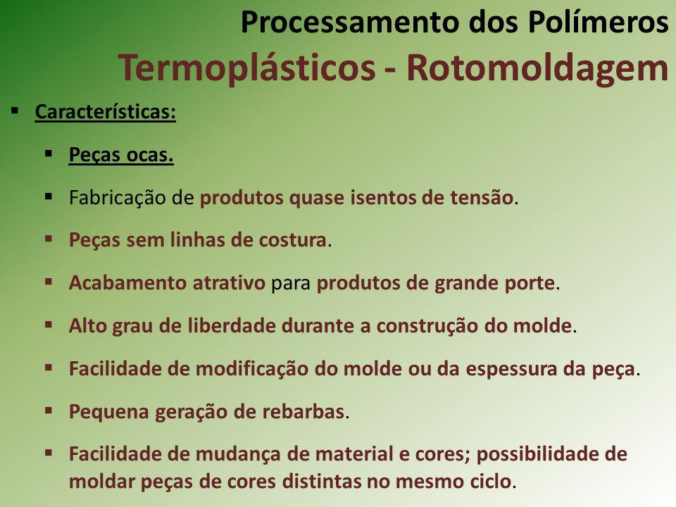 Processamento dos Polímeros Termoplásticos - Rotomoldagem Características: Peças ocas. Fabricação de produtos quase isentos de tensão. Peças sem linha