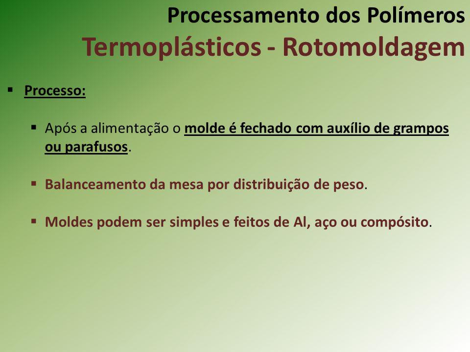 Processamento dos Polímeros Termoplásticos - Rotomoldagem Processo: Após a alimentação o molde é fechado com auxílio de grampos ou parafusos. Balancea