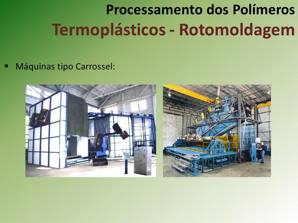 Processamento dos Polímeros Termoplásticos - Rotomoldagem Máquinas tipo Carrossel: