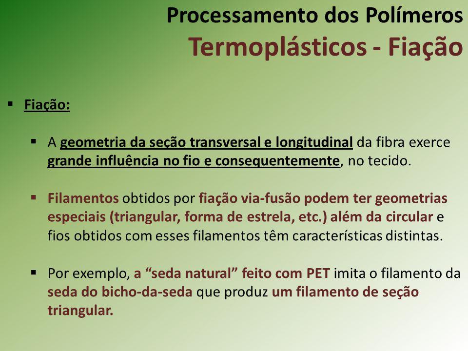 Processamento dos Polímeros Termoplásticos - Fiação Fiação: A geometria da seção transversal e longitudinal da fibra exerce grande influência no fio e