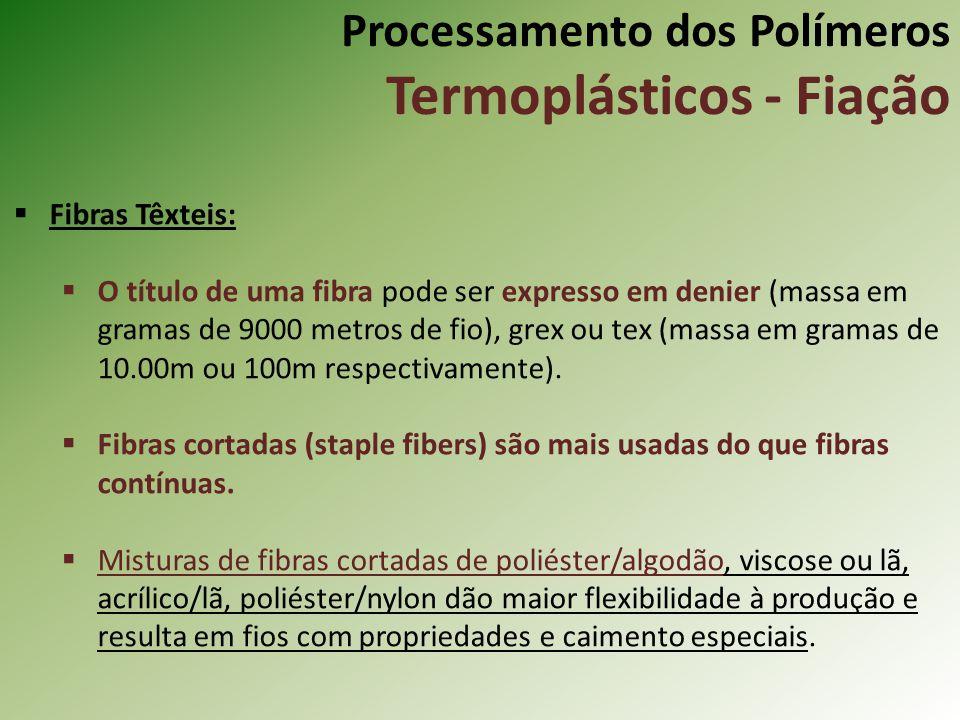 Processamento dos Polímeros Termoplásticos - Fiação Fibras Têxteis: O título de uma fibra pode ser expresso em denier (massa em gramas de 9000 metros