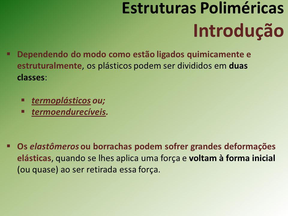 Estruturas Poliméricas Introdução Dependendo do modo como estão ligados quimicamente e estruturalmente, os plásticos podem ser divididos em duas class
