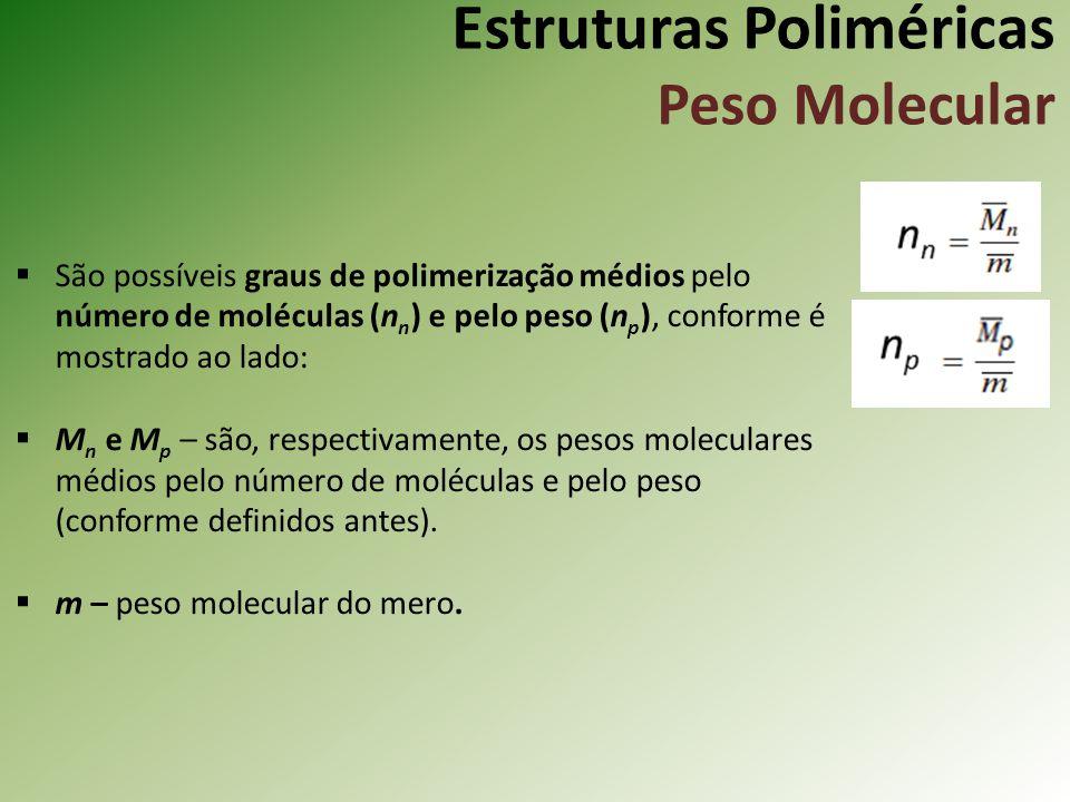 Estruturas Poliméricas Peso Molecular São possíveis graus de polimerização médios pelo número de moléculas (n n ) e pelo peso (n p ), conforme é mostr