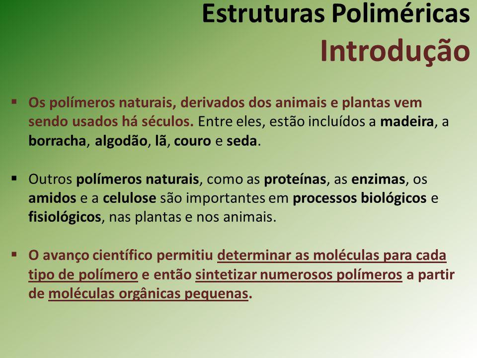 Estruturas Poliméricas Introdução Os polímeros naturais, derivados dos animais e plantas vem sendo usados há séculos. Entre eles, estão incluídos a ma