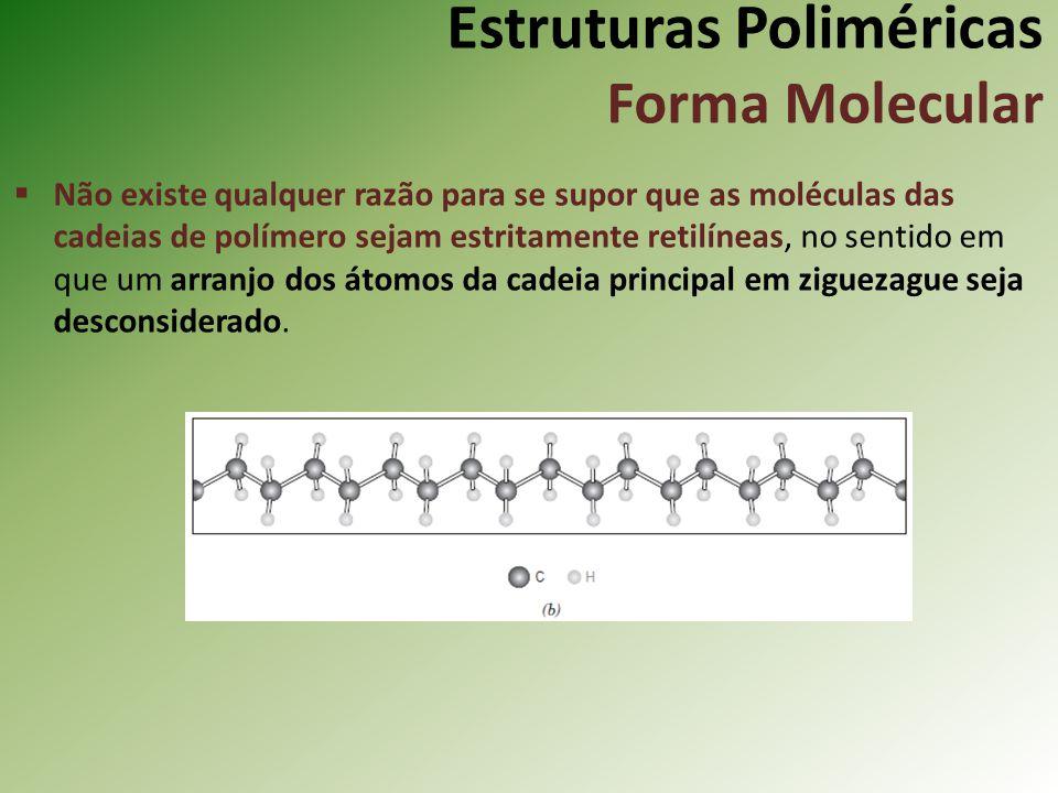 Estruturas Poliméricas Forma Molecular Não existe qualquer razão para se supor que as moléculas das cadeias de polímero sejam estritamente retilíneas,