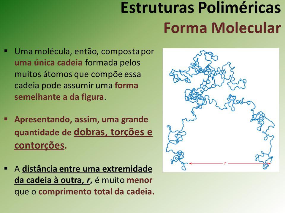 Estruturas Poliméricas Forma Molecular Uma molécula, então, composta por uma única cadeia formada pelos muitos átomos que compõe essa cadeia pode assu