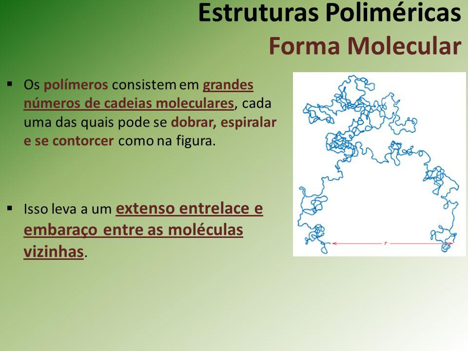 Estruturas Poliméricas Forma Molecular Os polímeros consistem em grandes números de cadeias moleculares, cada uma das quais pode se dobrar, espiralar