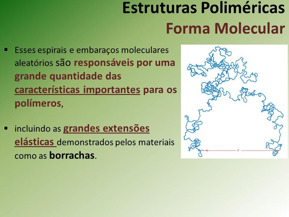 Estruturas Poliméricas Forma Molecular Esses espirais e embaraços moleculares aleatórios são responsáveis por uma grande quantidade das característica