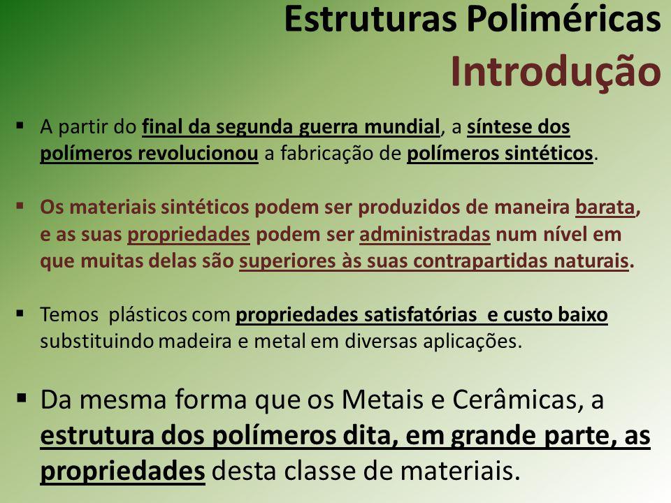Estruturas Poliméricas Cristalinidade do Polímero Quanto mais complexas as estruturas dos monômeros (p.e., poli- isopreno), mais difícil é a formação da cristalinidade – alinhamento das moléculas.
