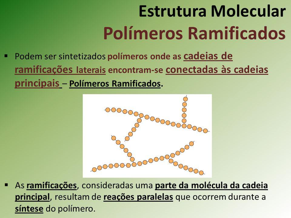 Estrutura Molecular Polímeros Ramificados Podem ser sintetizados polímeros onde as cadeias de ramificações laterais encontram-se conectadas às cadeias