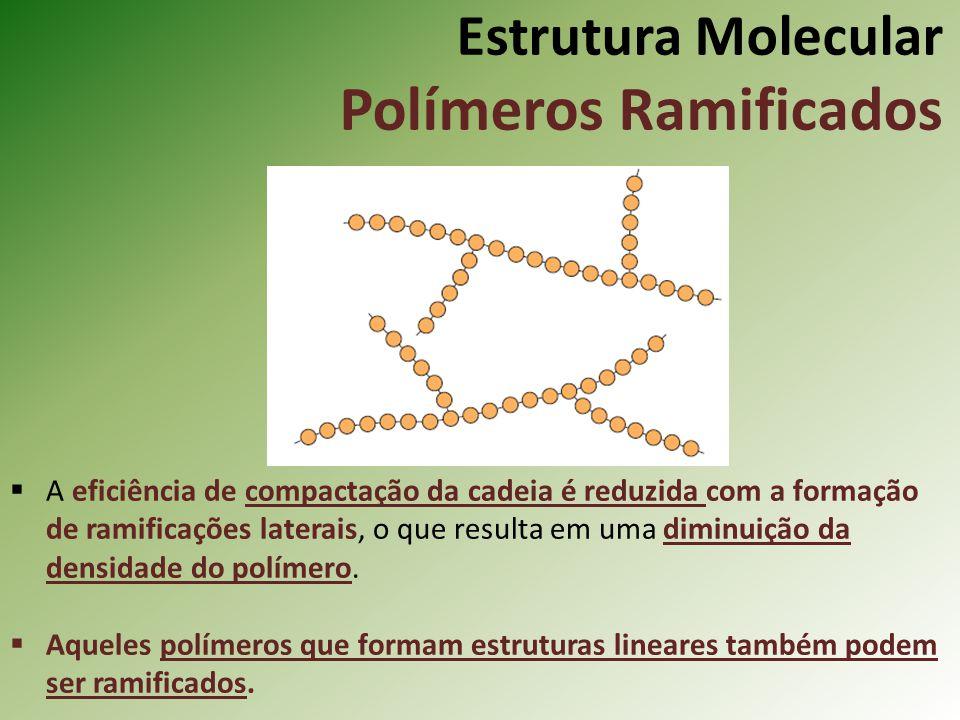 Estrutura Molecular Polímeros Ramificados A eficiência de compactação da cadeia é reduzida com a formação de ramificações laterais, o que resulta em u