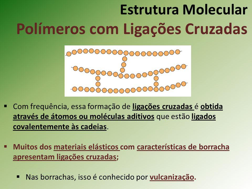 Estrutura Molecular Polímeros com Ligações Cruzadas Com frequência, essa formação de ligações cruzadas é obtida através de átomos ou moléculas aditivo