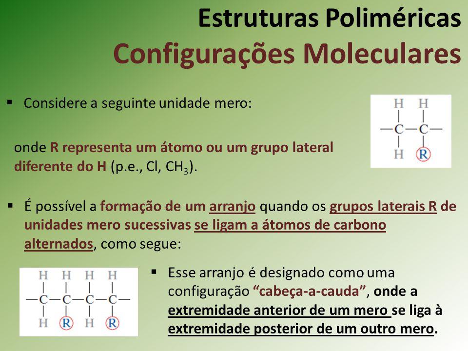 Estruturas Poliméricas Configurações Moleculares Considere a seguinte unidade mero: onde R representa um átomo ou um grupo lateral diferente do H (p.e