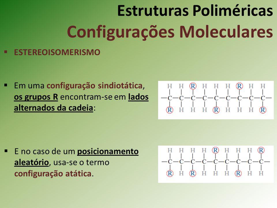 Estruturas Poliméricas Configurações Moleculares ESTEREOISOMERISMO Em uma configuração sindiotática, os grupos R encontram-se em lados alternados da c