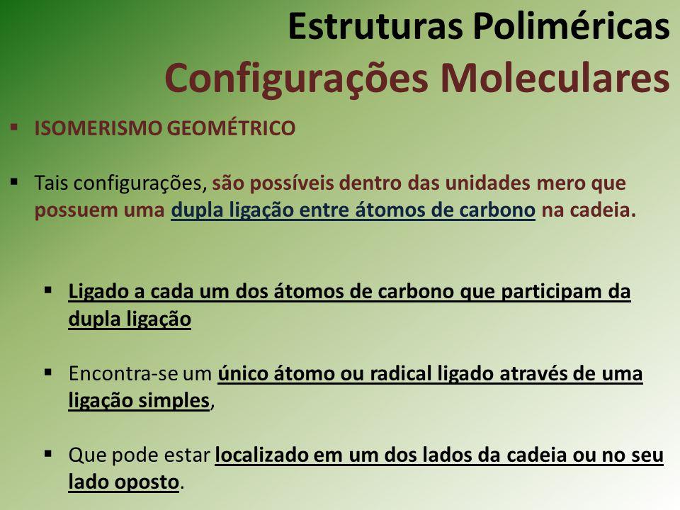 Estruturas Poliméricas Configurações Moleculares ISOMERISMO GEOMÉTRICO Tais configurações, são possíveis dentro das unidades mero que possuem uma dupl