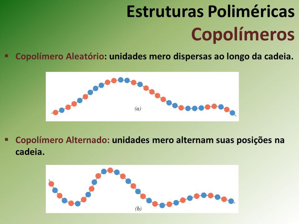 Estruturas Poliméricas Copolímeros Copolímero Aleatório: unidades mero dispersas ao longo da cadeia. Copolímero Alternado: unidades mero alternam suas