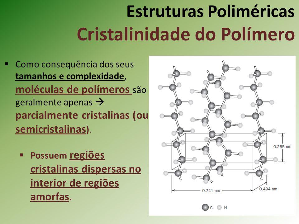 Estruturas Poliméricas Cristalinidade do Polímero Como consequência dos seus tamanhos e complexidade, moléculas de polímeros são geralmente apenas par
