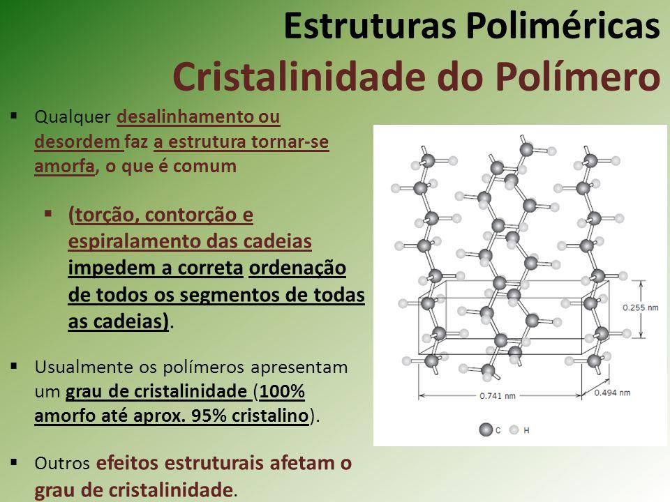 Estruturas Poliméricas Cristalinidade do Polímero Qualquer desalinhamento ou desordem faz a estrutura tornar-se amorfa, o que é comum (torção, contorç