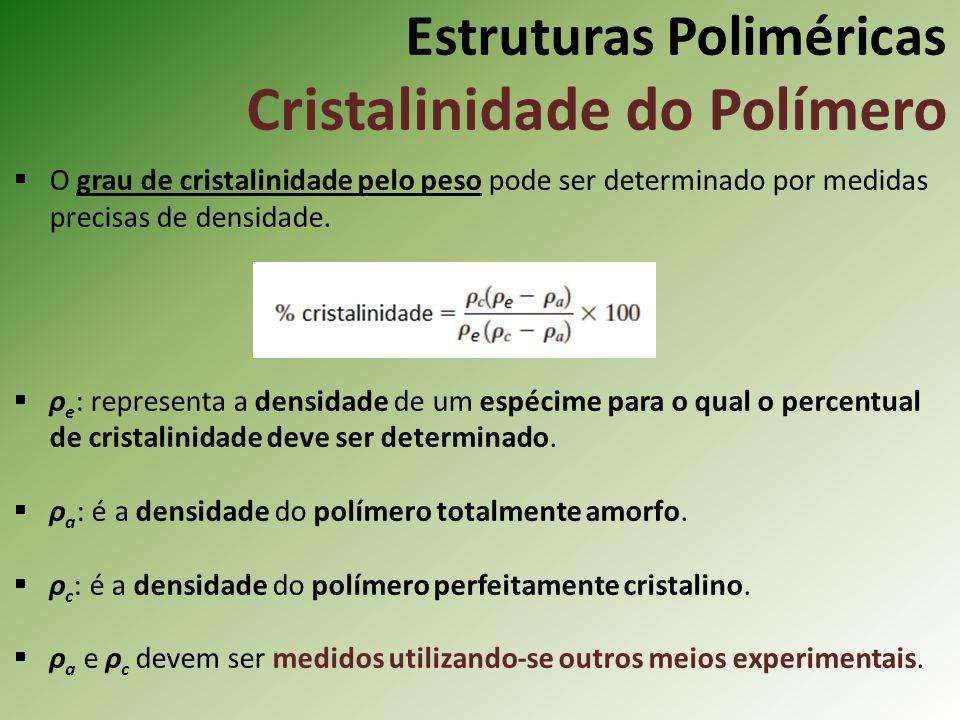 Estruturas Poliméricas Cristalinidade do Polímero O grau de cristalinidade pelo peso pode ser determinado por medidas precisas de densidade. ρ e : rep