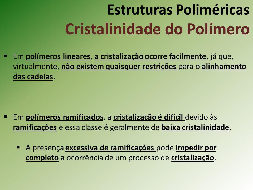 Estruturas Poliméricas Cristalinidade do Polímero Em polímeros lineares, a cristalização ocorre facilmente, já que, virtualmente, não existem quaisque