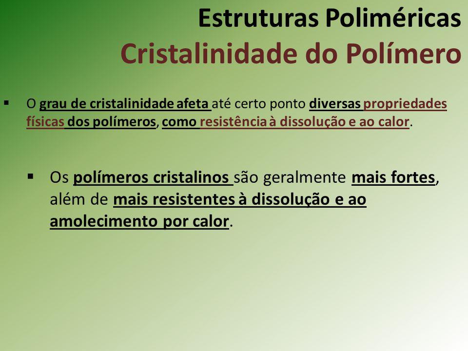 Estruturas Poliméricas Cristalinidade do Polímero O grau de cristalinidade afeta até certo ponto diversas propriedades físicas dos polímeros, como res