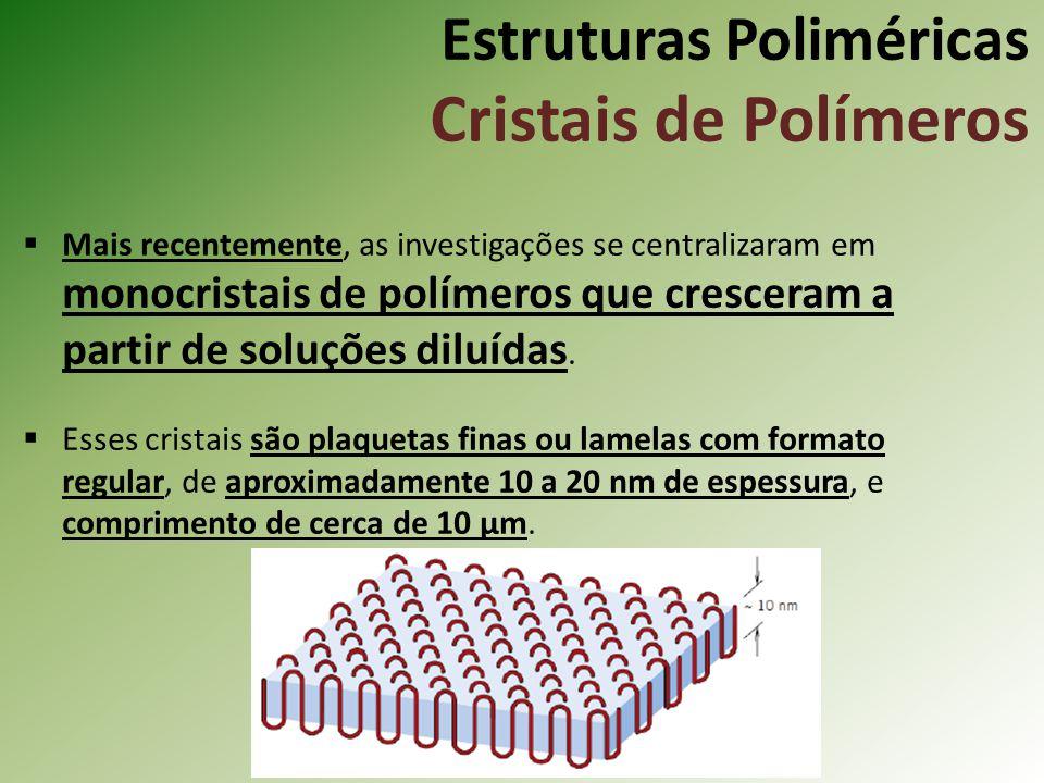 Estruturas Poliméricas Cristais de Polímeros Mais recentemente, as investigações se centralizaram em monocristais de polímeros que cresceram a partir