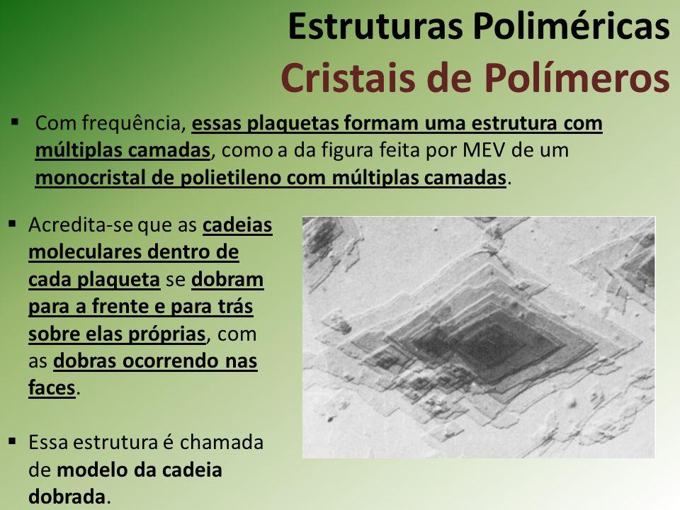 Estruturas Poliméricas Cristais de Polímeros Com frequência, essas plaquetas formam uma estrutura com múltiplas camadas, como a da figura feita por ME
