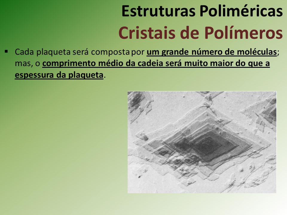 Estruturas Poliméricas Cristais de Polímeros Cada plaqueta será composta por um grande número de moléculas; mas, o comprimento médio da cadeia será mu