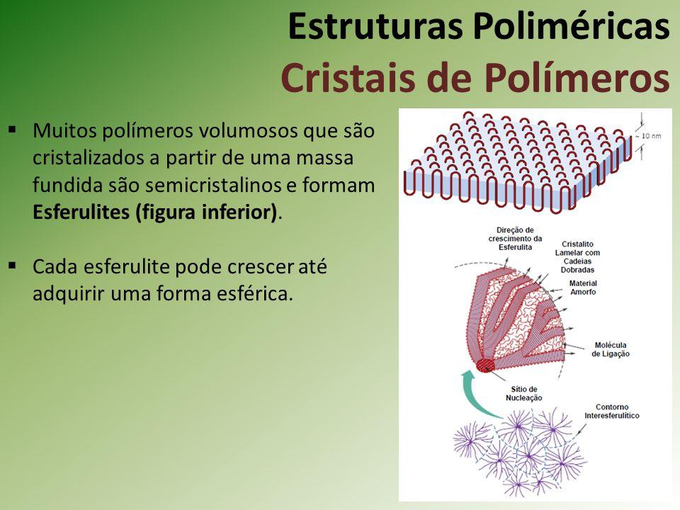 Estruturas Poliméricas Cristais de Polímeros Muitos polímeros volumosos que são cristalizados a partir de uma massa fundida são semicristalinos e form