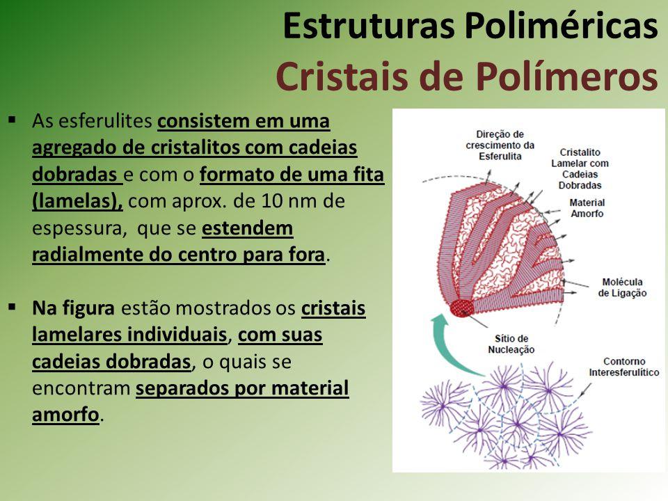 Estruturas Poliméricas Cristais de Polímeros As esferulites consistem em uma agregado de cristalitos com cadeias dobradas e com o formato de uma fita