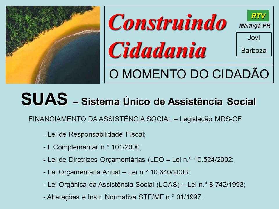 Construindo Cidadania Jovi Barboza O MOMENTO DO CIDADÃO RTV Maringá-PR SUAS – Sistema Único de Assistência Social FINANCIAMENTO DA ASSISTÊNCIA SOCIAL – Legislação MDS-CF - Lei de Responsabilidade Fiscal; - L Complementar n.° 101/2000; - Lei de Diretrizes Orçamentárias (LDO – Lei n.° 10.524/2002; - Lei Orçamentária Anual – Lei n.° 10.640/2003; - Lei Orgânica da Assistência Social (LOAS) – Lei n.° 8.742/1993; - Alterações e Instr.