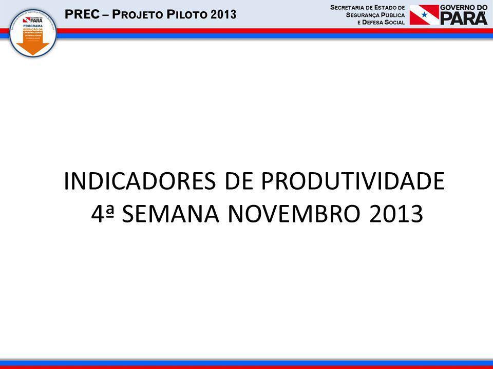 INDICADORES DE PRODUTIVIDADE 4ª SEMANA NOVEMBRO 2013