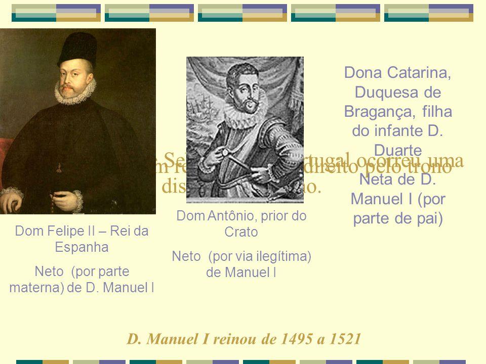 Com a morte de Sebastião de Portugal ocorreu uma disputa pelo trono. Vejam quem reivindicava o direito pelo trono português Dom Felipe II – Rei da Esp