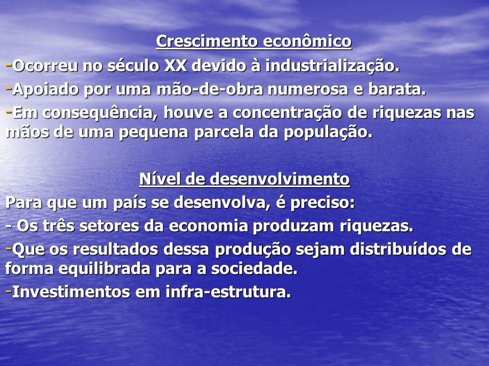 - Ocorreu no século XX devido à industrialização.- Apoiado por uma mão-de-obra numerosa e barata.