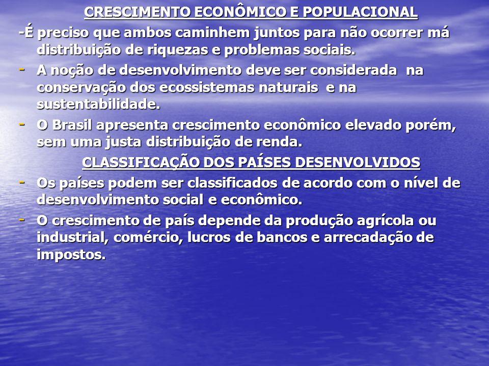 CRESCIMENTO ECONÔMICO E POPULACIONAL -É preciso que ambos caminhem juntos para não ocorrer má distribuição de riquezas e problemas sociais.