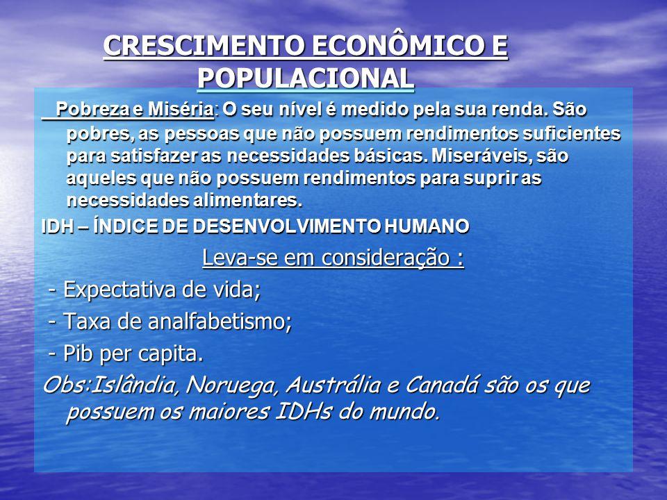 CRESCIMENTO ECONÔMICO E POPULACIONAL Pobreza e Miséria: O seu nível é medido pela sua renda.