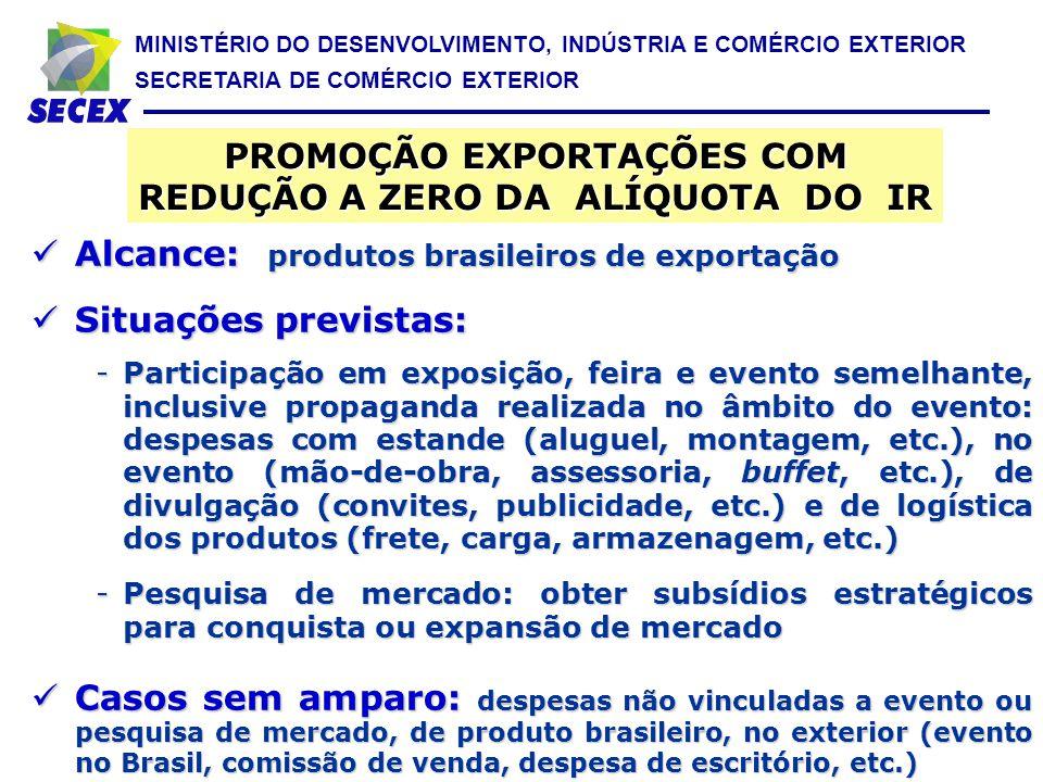 MINISTÉRIO DO DESENVOLVIMENTO, INDÚSTRIA E COMÉRCIO EXTERIOR SECRETARIA DE COMÉRCIO EXTERIOR Alcance: produtos brasileiros de exportação Alcance: prod