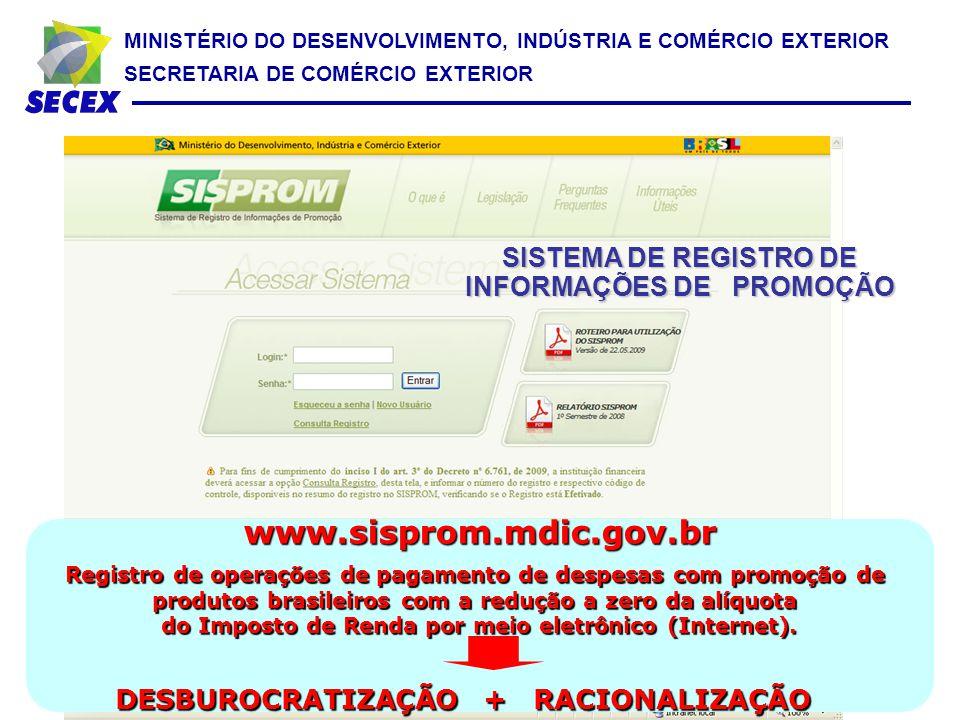 MINISTÉRIO DO DESENVOLVIMENTO, INDÚSTRIA E COMÉRCIO EXTERIOR SECRETARIA DE COMÉRCIO EXTERIOR SISTEMA DE REGISTRO DE INFORMAÇÕES DE PROMOÇÃO www.sisprom.mdic.gov.br Registro de operações de pagamento de despesas com promoção de produtos brasileiros com a redução a zero da alíquota do Imposto de Renda por meio eletrônico (Internet).