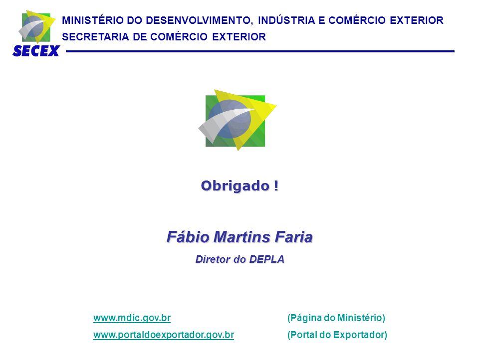 MINISTÉRIO DO DESENVOLVIMENTO, INDÚSTRIA E COMÉRCIO EXTERIOR SECRETARIA DE COMÉRCIO EXTERIOR Obrigado ! Fábio Martins Faria Diretor do DEPLA www.mdic.