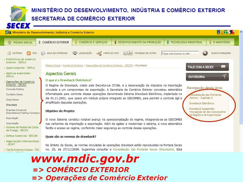MINISTÉRIO DO DESENVOLVIMENTO, INDÚSTRIA E COMÉRCIO EXTERIOR SECRETARIA DE COMÉRCIO EXTERIOR www.mdic.gov.br => COMÉRCIO EXTERIOR => Operações de Comé