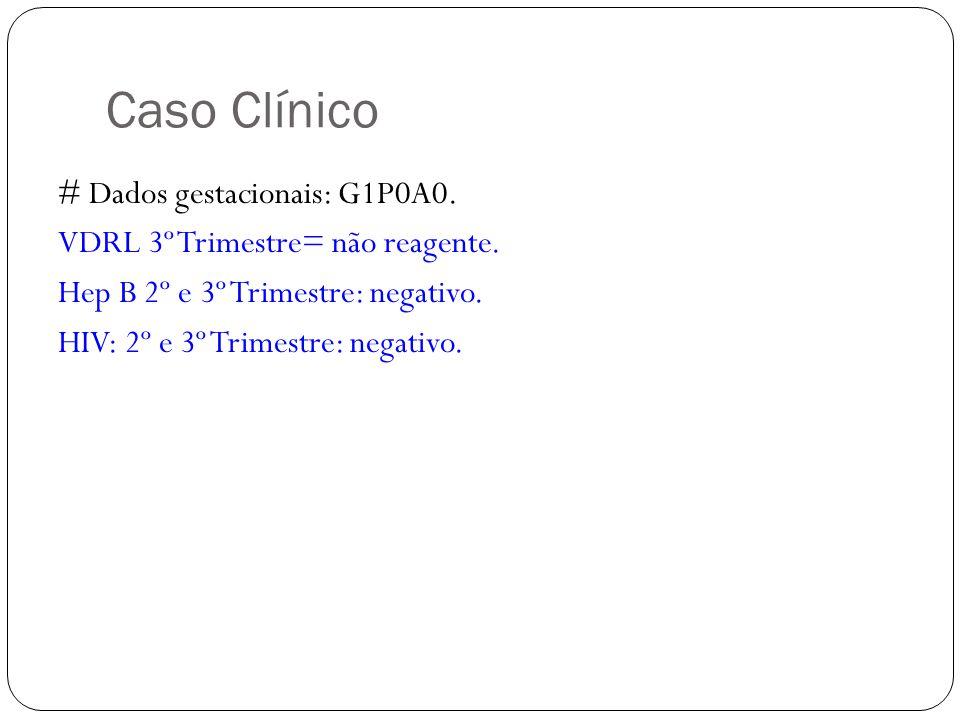 Caso Clínico # Dados gestacionais: G1P0A0. VDRL 3º Trimestre= não reagente. Hep B 2º e 3º Trimestre: negativo. HIV: 2º e 3º Trimestre: negativo.