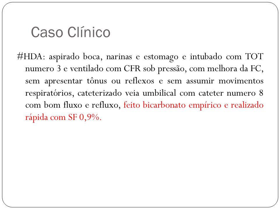Caso Clínico #HDA: aspirado boca, narinas e estomago e intubado com TOT numero 3 e ventilado com CFR sob pressão, com melhora da FC, sem apresentar tô