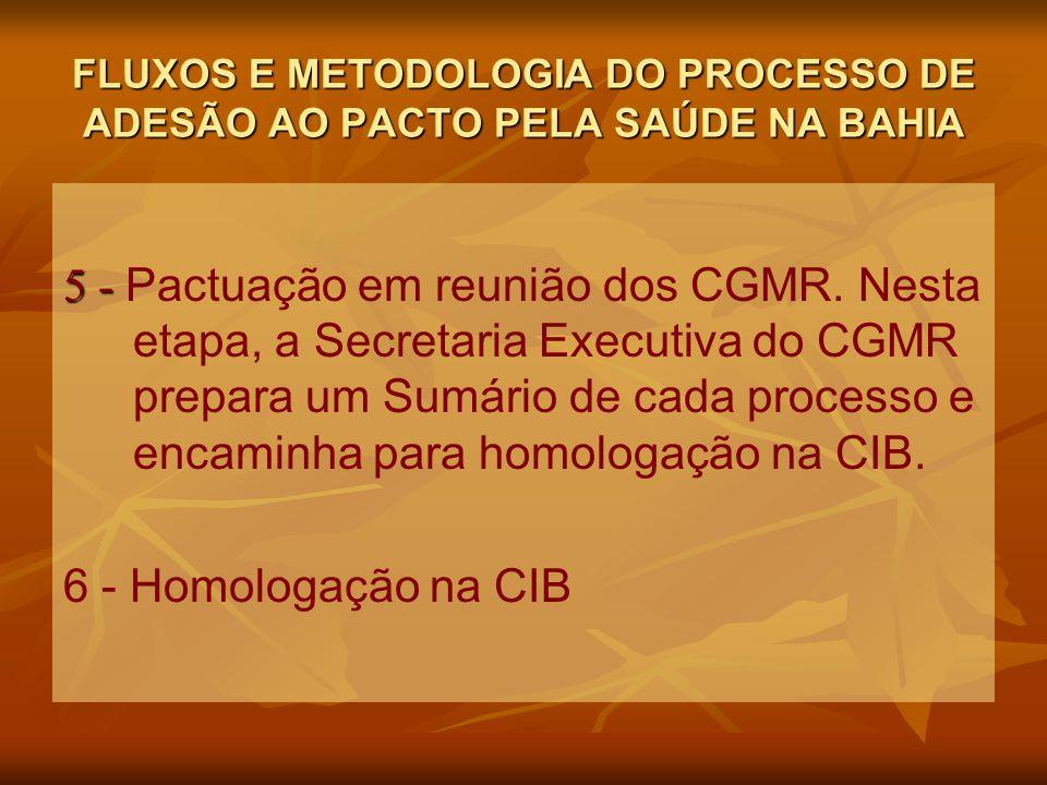FLUXOS E METODOLOGIA DO PROCESSO DE ADESÃO AO PACTO PELA SAÚDE NA BAHIA 5 - 5 - Pactuação em reunião dos CGMR.