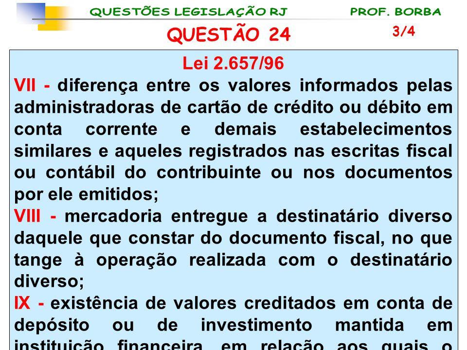 QUESTÃO 24 Lei 2.657/96 VII - diferença entre os valores informados pelas administradoras de cartão de crédito ou débito em conta corrente e demais es