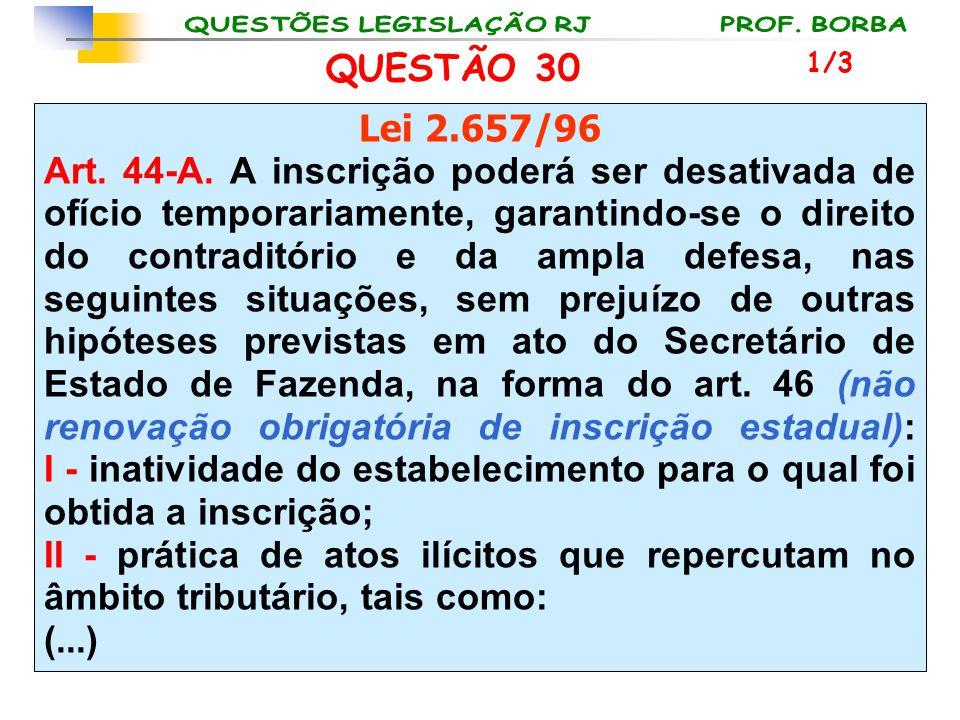 QUESTÃO 30 Lei 2.657/96 Art. 44-A. A inscrição poderá ser desativada de ofício temporariamente, garantindo-se o direito do contraditório e da ampla de