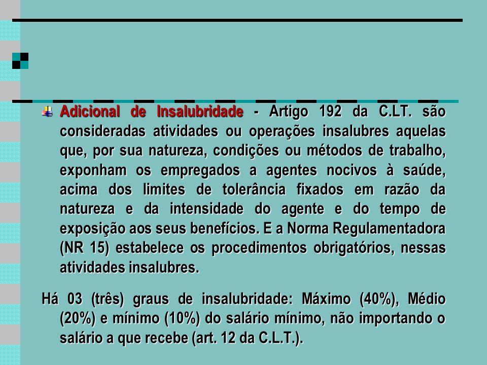 Adicional de Periculosidade - Artigo 193, § 1° da C.L.T.