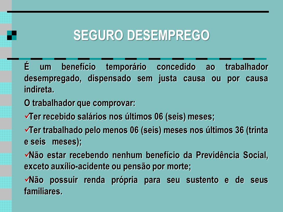 SEGURO DESEMPREGO O valor do beneficio será calculado com base nos 03 (três) últimos salários recebidos pelo trabalhador.